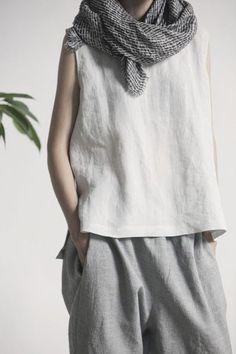 top white top linen grey pants linen pants fair trade womens linen trousers…