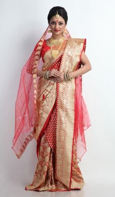 Beautiful Red and Gold Banarasi Silk Saree
