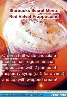 Starbucks Secret Menu: Red Velvet Frappuccino Starbuc … Best Picture For Coffee corner For Your Taste You are looking … Starbucks Caramel Frappuccino, Starbucks Hacks, Bebidas Do Starbucks, Starbucks Cookies, Starbucks Secret Menu Items, Frappe Recipe, Starbucks Menu, Starbucks Coffee, Dessert