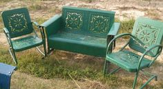 Recently sold.....Love,Love,Love this unique design of old metal glider for porch retrovintagepatio.com