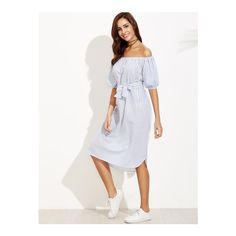 SheIn(sheinside) Blue Vertical Striped Off The Shoulder Self Tie Dress (£15) ❤ liked on Polyvore featuring dresses, blue, off the shoulder dress, stripe dresses, white beach dresses, off shoulder dress and blue off the shoulder dress