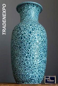 RARE XL 15''Vintage 60's SCHEURICH KERAMIK Fat Lava Floor Vase W.German Pottery