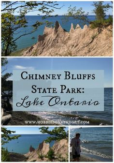 Located about an hour between Syracuse and Rochester, NY right on the Great Lake, Chimney Bluffs State Park is worth the extra time to leave the interstate and go exploring. Lake George Village, Us Destinations, Winter Hiking, Travel Usa, Travel Tips, Canada Travel, Travel Guides, Vacation Spots, Vacation Ideas