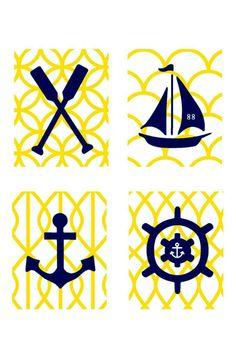 Yellow and Navy Nautical Nursery Wall Art, 4- 8x10 prints