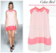European Grand Prix 2013 doll chiffon shirt collar loose long section of female new hit color fluorescent fake two-piece dress