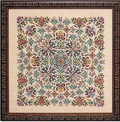 Ink Circles Tapestry - Cross Stitch Pattern. Model stitched on 30 Ct. Parchment linen with Gentle Art Sampler threads (or DMC 501, 3857, 831, 300, 413, 840, 938