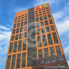Modern office buildings in Łódź, Poland.