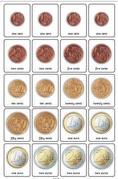 Print pairs of cards with coins from US, UK, Euro, Canada and Australia Money Worksheets, Printable Worksheets, Money Activities, Euro Coins, Classroom Tools, Coin Card, Teaching Math, Maths, Finance Tips