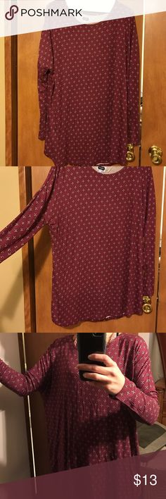 Small maroon boho style top Long sleeve boho style top. Maroon in color and there are black and gold flower print. Never worn, still has tags on it. Just don't care for the style Mud Pie Tops Tees - Long Sleeve