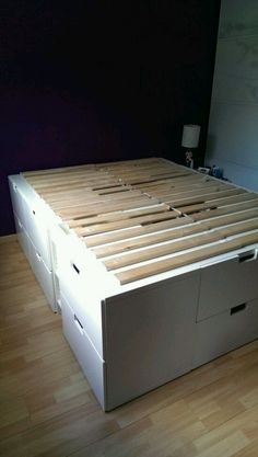 bed with extra storage place A captain bed with extra storage place - IKEA Hackers. Someday I will make this for my daughterA captain bed with extra storage place - IKEA Hackers. Someday I will make this for my daughter Cama Ikea, Ikea Stuva Bed, Stuva Loft Bed, Ikea Beds, Ikea Hackers, Ikea Hack Lit, Bed Storage, Extra Storage, Ikea Storage Bed Hack