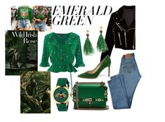 """""""Emerald Green"""" by annabalint16 on Polyvore featuring Gucci, Topshop, Fendi, The Kooples, Levi's, Lizzie Fortunato, Kenzo, Flowers, nature and emeraldgreen"""