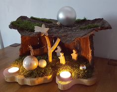 Weihnachtskrippe Krippe aus Holz und Baumrinde *selbstbasteln*