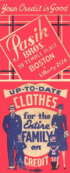 Pasik Clothes of Boston. #frontstriker #matchbookcover To Order your Business' own branded #matches GoTo: www.GetMatches.com or Call 800.605.7331 Today!