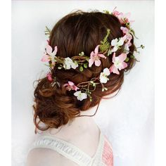 rustic wedding hair wreath, woodland headpiece, pink bridal hair... ($115) ❤ liked on Polyvore