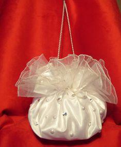 Bridal Purse White Saten Rhinestones by AmorBride on Etsy, $23.00