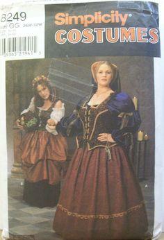 Simplicity 8249 Renaissance Faire Costumes Sz 26W-30W Wench Waitress Madam 1998  #simplicity