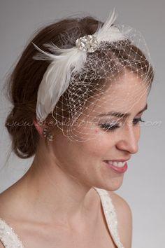 how to make a birdcage veil headband | Bridal Birdcage Headband, Mini Veil with Feather Rhinestone Head Piece ...