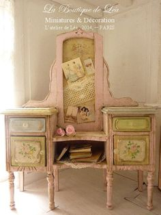 Chic vanity, French countryside, roses and pastel,  Shabby Parisian, 1''SCALE, Furniture for dollhouse 1:12th scale on Etsy, $153.11