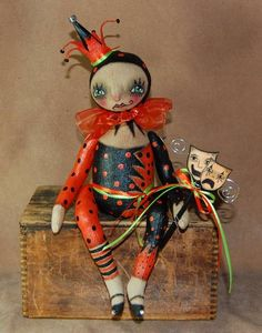 Outside the Box Primitives: HALLOWEEN HARLEQUINprimitive doll jester harlequin halloween SOLD! $207