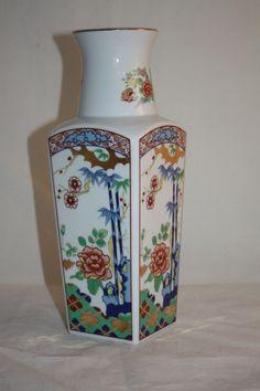 Vintage Miyako Imari Ware Vase Floral Gold Hand Painted Porcelain Japan Stamp