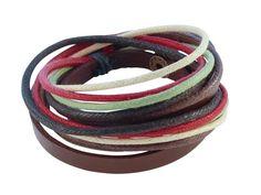 Leren Armband - Tibetaanse armband van gekleurd touw en leer