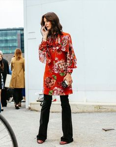 Printed tunic and flared pants