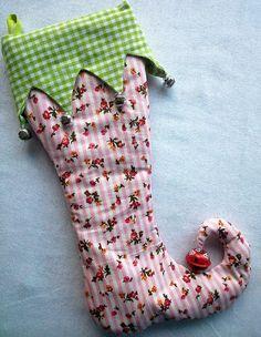 nikolausstiefel weihnachtssocke elfstocking rosa gestreift - Ngel Muster Selber Machen