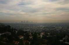 Designing for a Global Airpocalypse_The present-day Los Angeles skyline beneath a film of smog.