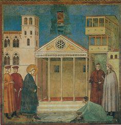 Giotto - Omaggio di un semplice - Affresco - 1297-1300 - Basilica Superiore di San Francesco. Assisi