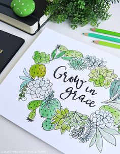 Grow in Grace, Watercolor, Succulents, Cactus, Air Plant, Illustration, Quote, Art Print, Inspiring Quote, Gratitude, Bible Verse
