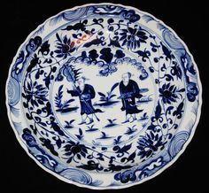 ANTIQUE CHINESE PORCELAIN,  44.5 CM B&W CHARGER, 19TH C,XUANDE MARK, NR. #China