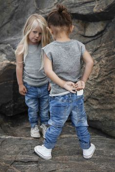 Bastian singlet + Newark blue jeans. Cute little girls, but I hope this isn't meant to portray bullying by the taller one.