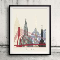 Riga skyline poster - Fine Art Print Glicee Poster Decor Home Gift Illustration…