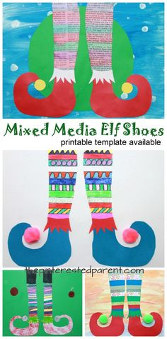 holiday art Mixed media elf shoes with printable template for your convenience. - Use paint, paper, newspaper, markers or watercolors to create these fun and colorful elf shoes. Winter and Christmas arts and crafts. Christmas Art Projects, Christmas Arts And Crafts, Winter Art Projects, Noel Christmas, Christmas Crafts For Kids, Xmas, Christmas Activities, Christmas Decorations, Christmas Ornaments