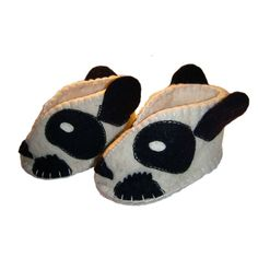Fair Trade Panda felt Zooties Baby Booties handmade by artisans in Kyrgyzstan available at Alternatives Global Marketplace