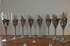 Set of 8 - Great Gatsby Toasting flutes, Black and White Damask toasting flutes, Great Gatsby Wedding, Great Gatsby champagne glasses on Etsy, $105.00