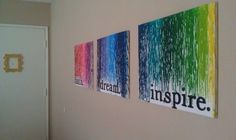 DIY: crayon art - crayons in old glue gun over canvas with large letters. (tape with painters tape around letters so that there is white space behind them)