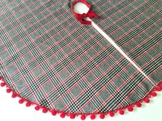 Pom Christmas Tree Skirts Red Plaid By GreenwoodStore