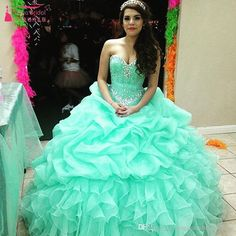 Cheap Mint Green Two Piece Quinceanera Dresses 2017 Ruffles ...