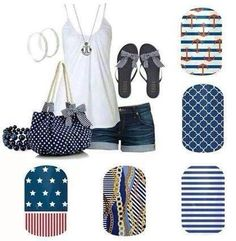 Navy Outfit with matching Jamberry Nails