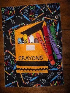 Quiet book crayon page. With popsicle stickes in the crayons. The Whitworth Family: Quiet Book Finally Done!