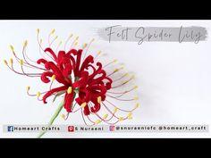 #DIY EASY FELT SPIDER LILY - How to Make Felt Flowers - S Nuraeni - YouTube Flower Crafts, Craft Flowers, Felt Flower Tutorial, Felt Flowers, Hello Everyone, Home Art, Spider, Lily, Felting