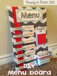 Menu board-cute! Just do breakfast lunch snack dinner snack and the week then inside a calander book.