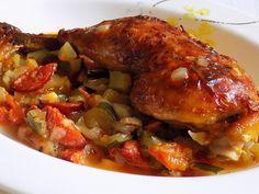 Na pánvi roztopíme máslo.Přidáme nakrájenou cibuli, na kostky nakrájenou cuketu, nahrubo nasekaný česnek, rajčata, papriku, na půlkolečka... No Salt Recipes, Clean Recipes, Chicken Wings, Pork, Food And Drink, Menu, Foodies, Life, Gastronomia