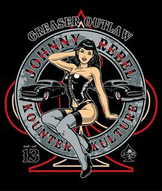 Johnny Rebel T-Shirt Design Pin Up by russellink on DeviantArt Pin Up Vintage, Vintage Cars, Pinup Art, Look Rockabilly, Rockabilly Tattoos, Pin Up Girls, Pin Up Zeichnungen, Pin Up Drawings, Vintage Posters