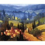 Tuscan Valley View Canvas Transfer - Tuscan Art