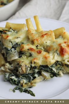 This creamy spinach pasta bake is, in my opinion, the definition of comfort food! It's easy to make, with simple ingredients you probably already have in your home. Also, it's creamy and covered with molten golden cheese! But, you may ask, is this glorified mac and cheese? Probably… Am I still calling it fancy? Well, sure! Whatever you call it, I hope you try this recipe and enjoy some comforting pasta! Click the link to find this delicious recipe! #pastabake #vegetariandinner #comfortfood Vegetarian Pasta Recipes, Vegetarian Dinners, Vegan Recipes, Savory Waffles, Savory Breakfast, Breakfast Ideas, Spinach Pasta Bake, Creamy Spinach, Comfortfood