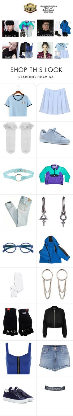 """""""Opposite Directions • """"Don't Lie"""" Debut Stage (3rd Win)"""" by pc-blue ❤ liked on Polyvore featuring Monsoon, ED Ellen DeGeneres, Woolrich, American Eagle Outfitters, Rachel Entwistle, Mykita, Balenciaga, Tory Burch, Maison Margiela and River Island"""