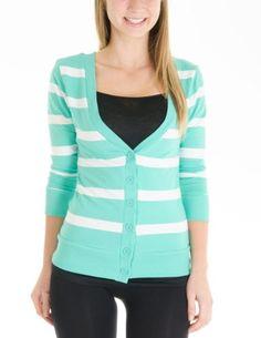 Juniors T-Shirt Fabric Cardigan 3/4 Sleeve 6 Button Many Colors (Small, Striped:Mint/White) Cotton Cantina,http://www.amazon.com/dp/B00DZUHQ18/ref=cm_sw_r_pi_dp_C78qsb1S20VY3P3X