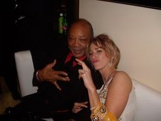 #tbt ThatGirlMair and Quincy Jones throwing up gang signs at Russell Simmons' Grammy After-Party in Beverly Hills.